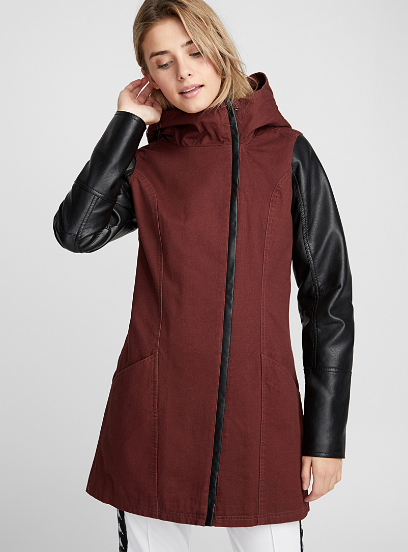 Faux-leather sleeve coat - Jackets and Vests - Ruby Red