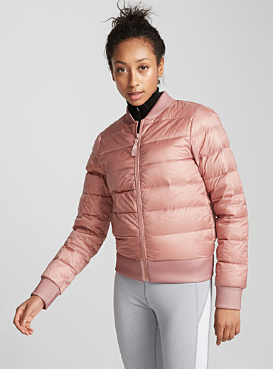 Satiny quilted bomber jacket