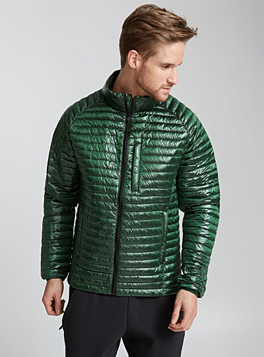 Shiny quilted down jacket