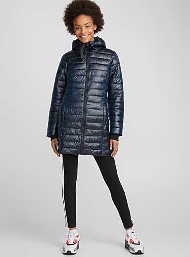 Shiny ¾ quilted jacket