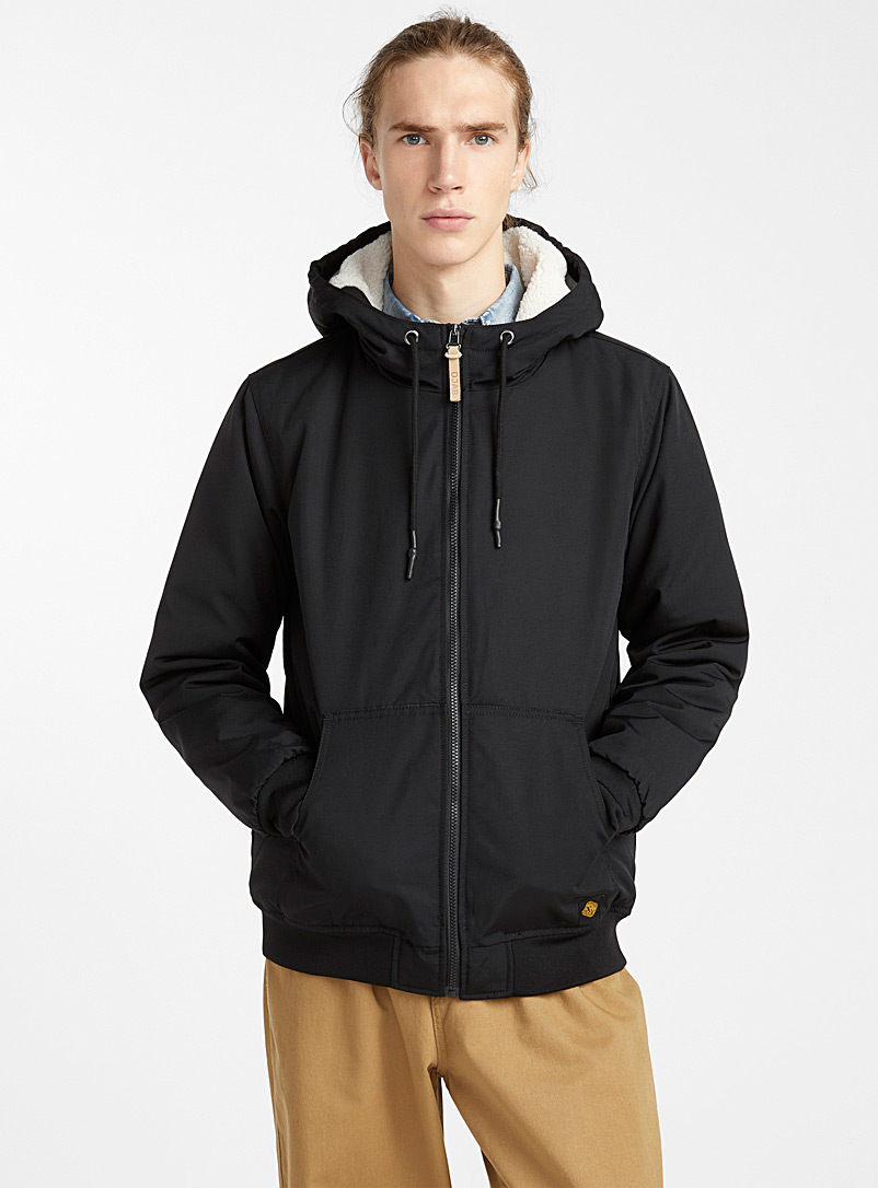 Sherpa-lined hood bomber jacket - Jackets & Vests - Black