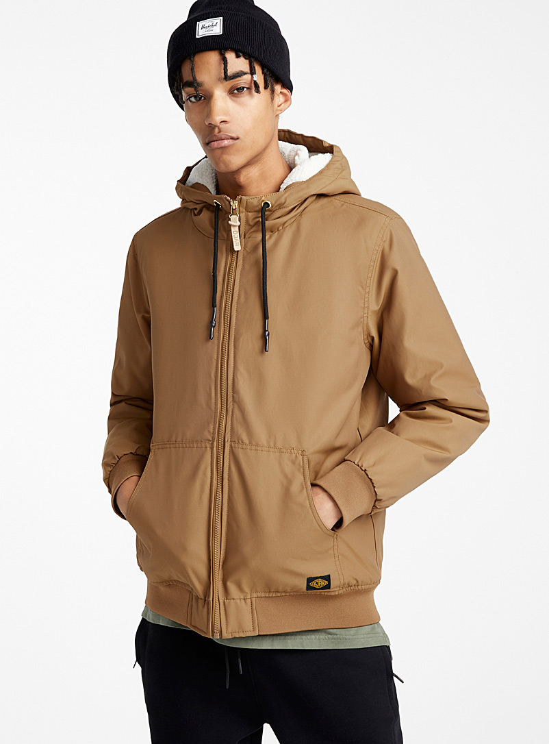 Djab Light Brown Sherpa-lined hood bomber jacket for men