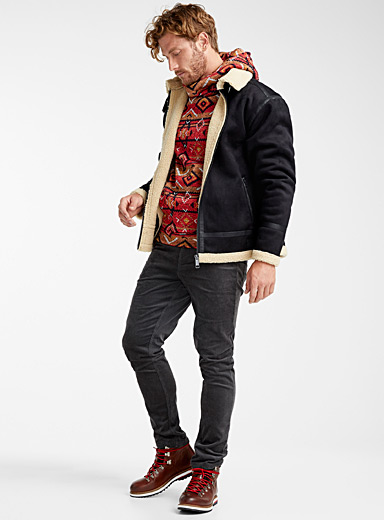 Faux-suede aviator jacket