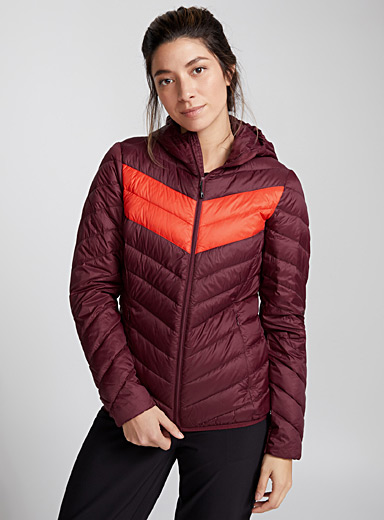 Colour-block quilted jacket