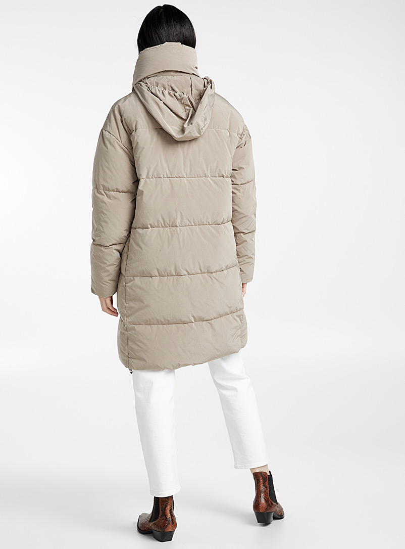Diagonal-zip down puffer jacket - Quilted and Down Jackets - Light Brown