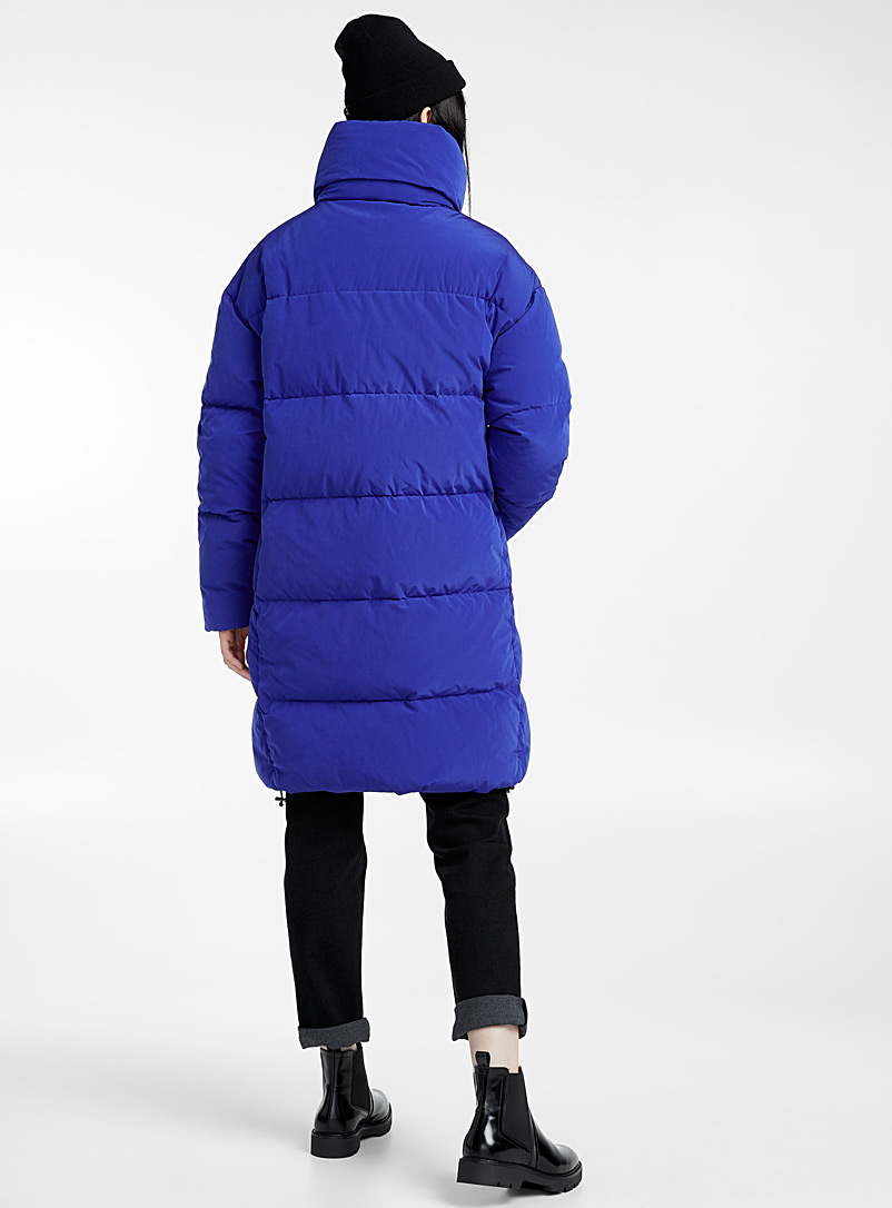 Diagonal-zip down puffer jacket - Quilted and Down Jackets - Sapphire Blue