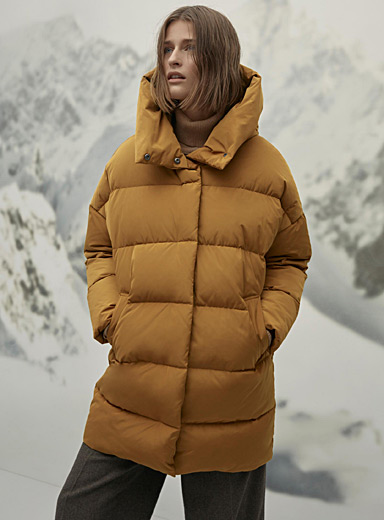 Giant-hood down puffer jacket