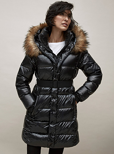 Glossy down puffer coat