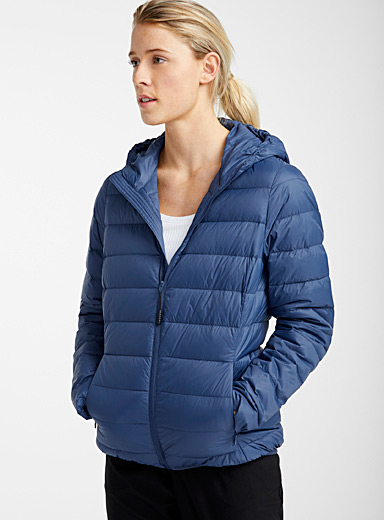 I.FIV5 Dark Blue Recycled nylon packable puffer jacket for women