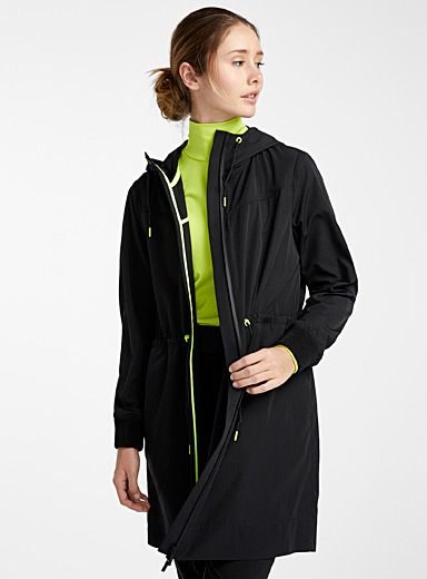 I.FIV5 Black Long neon accent windbreaker for women