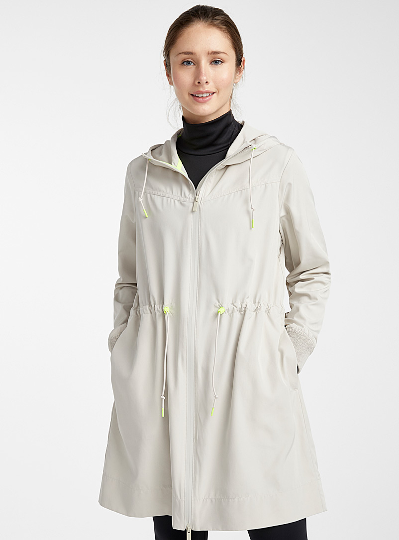 I.FIV5 Cream Beige Long neon accent windbreaker for women