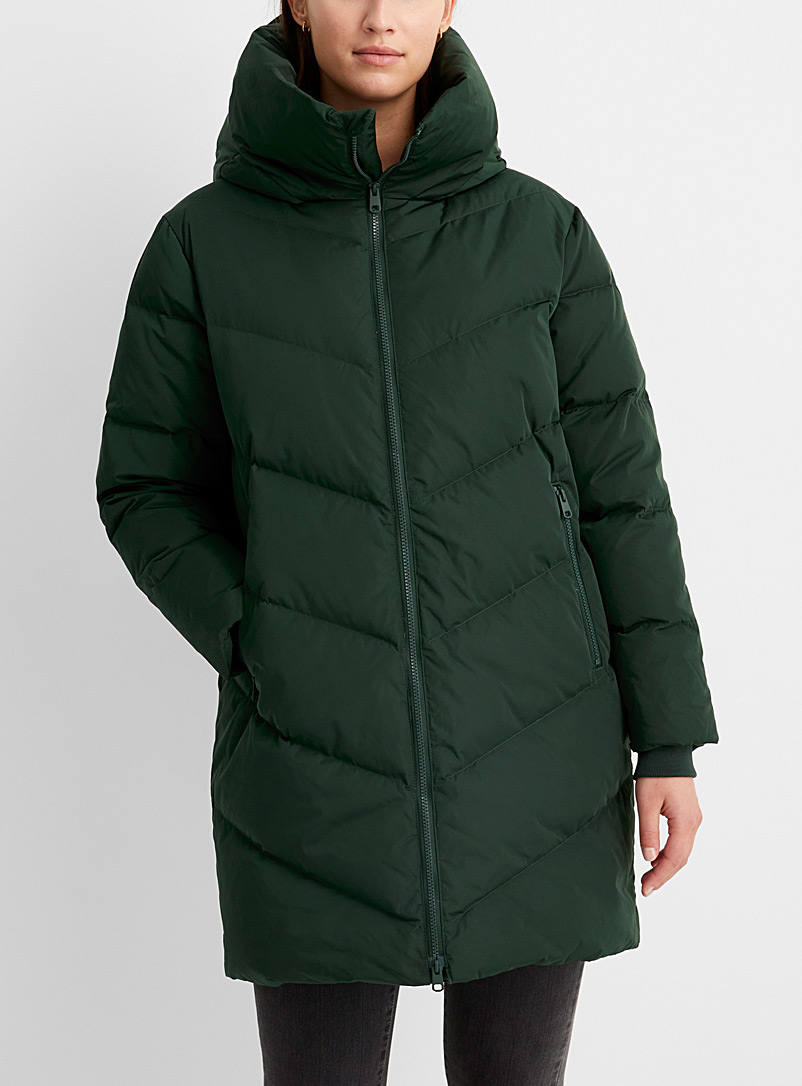 Contemporaine Green Recycled polyester cocoon puffer jacket for women