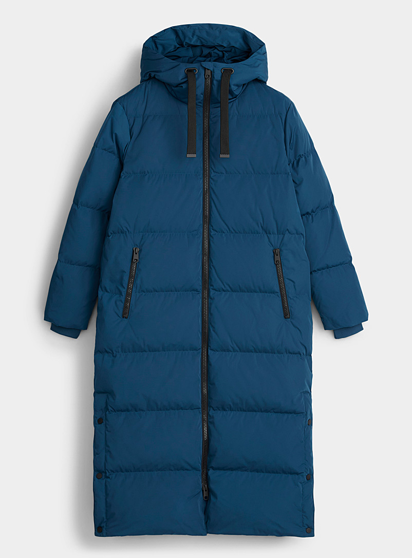 Contemporaine Blue Recycled polyester and responsible down maxi puffer jacket for women