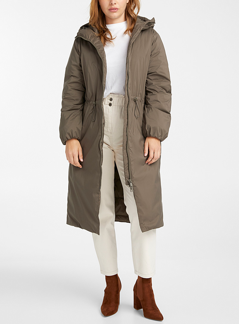 Icône Khaki Long elastic-waist recycled polyester coat for women