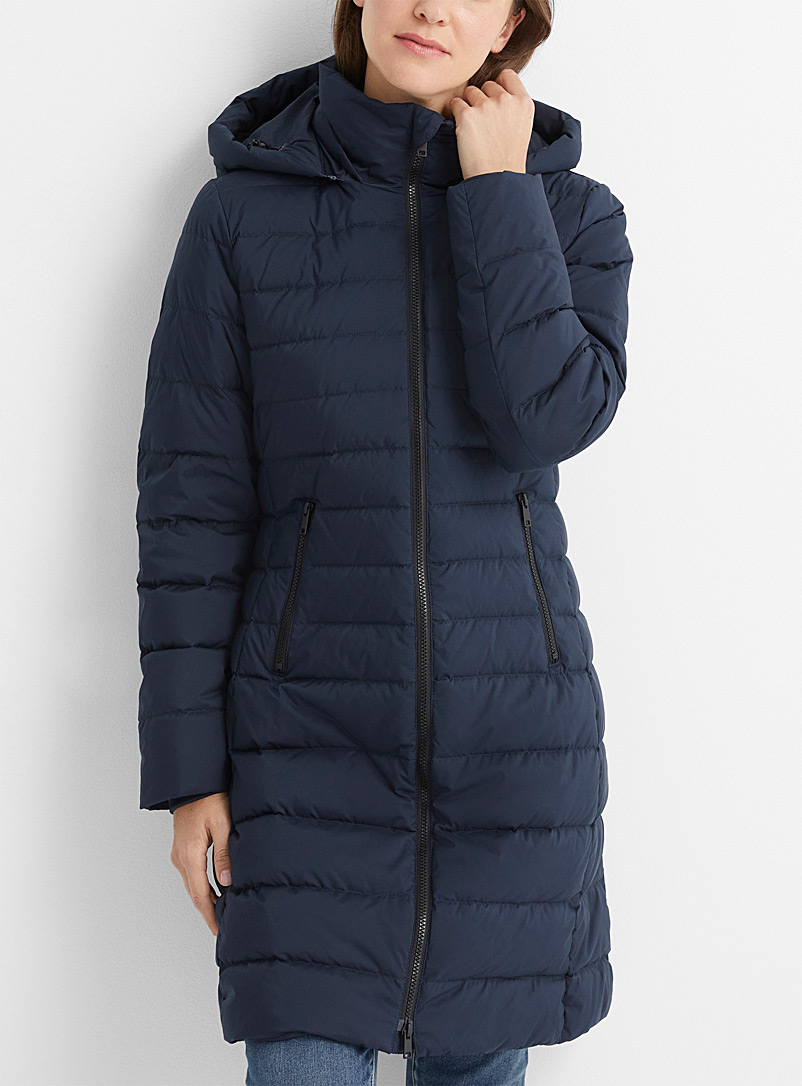 Contemporaine Marine Blue Recycled polyester down 3/4 puffer jacket for women