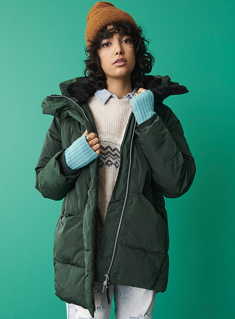 Twik Mossy Green Recycled polyester puffer jacket for women