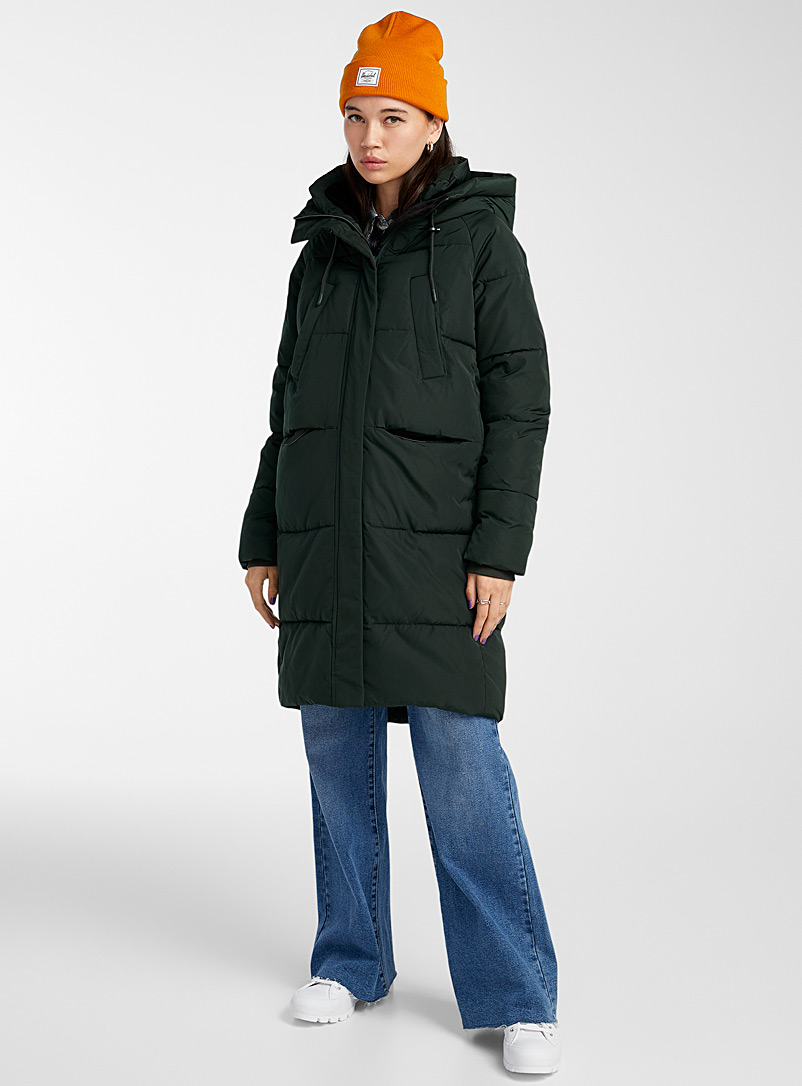 Twik Kelly Green Recycled polyester 3/4 puffer jacket for women
