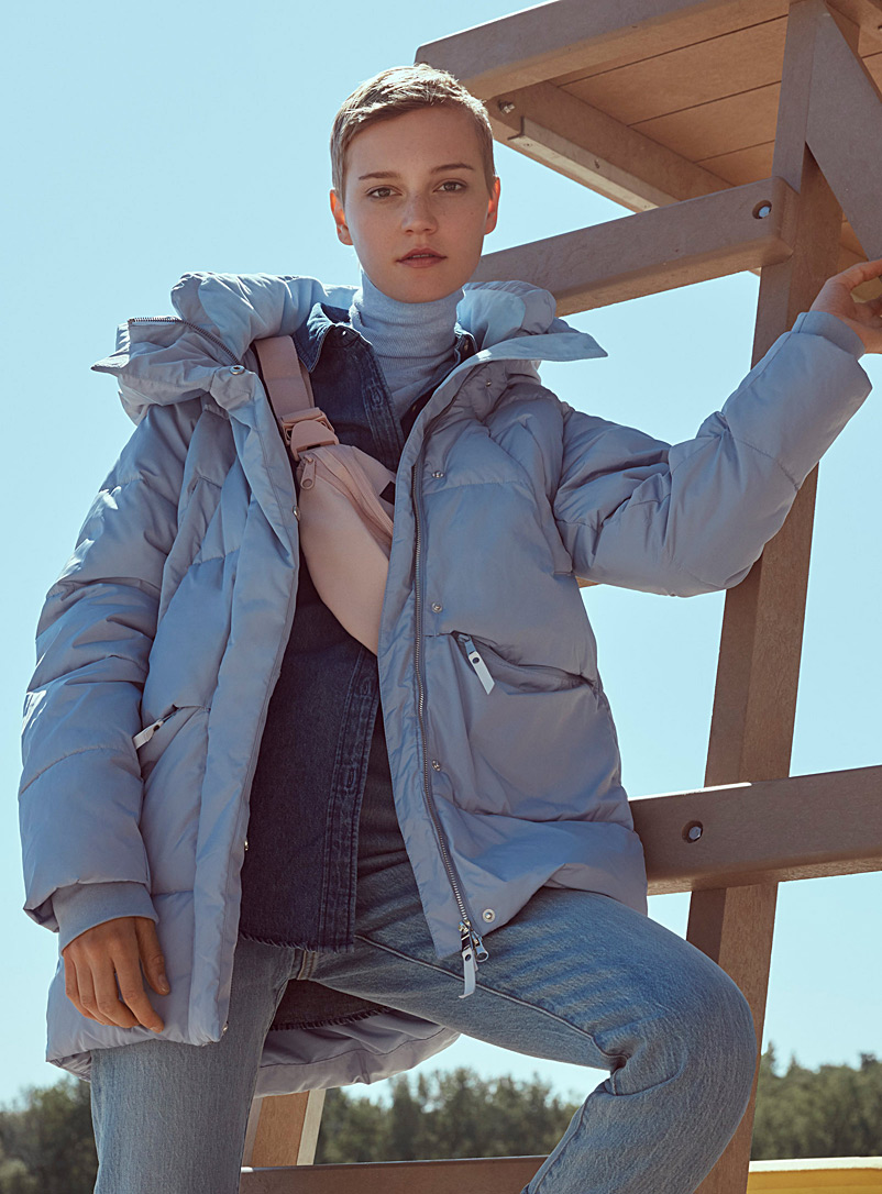 Mega-hood puffer jacket - Quilted and Down Jackets - Baby Blue