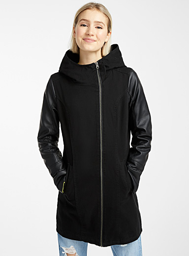 Faux-leather sleeves hooded coat