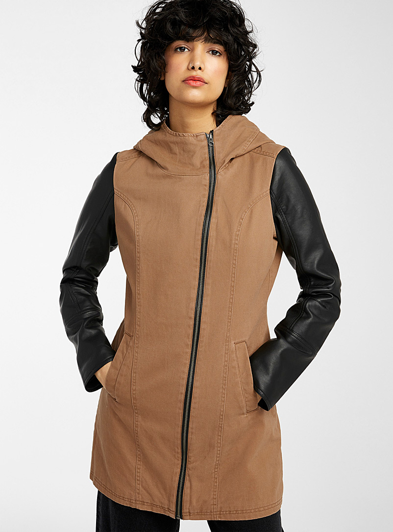 Twik Fawn Faux-leather sleeves hooded coat for women