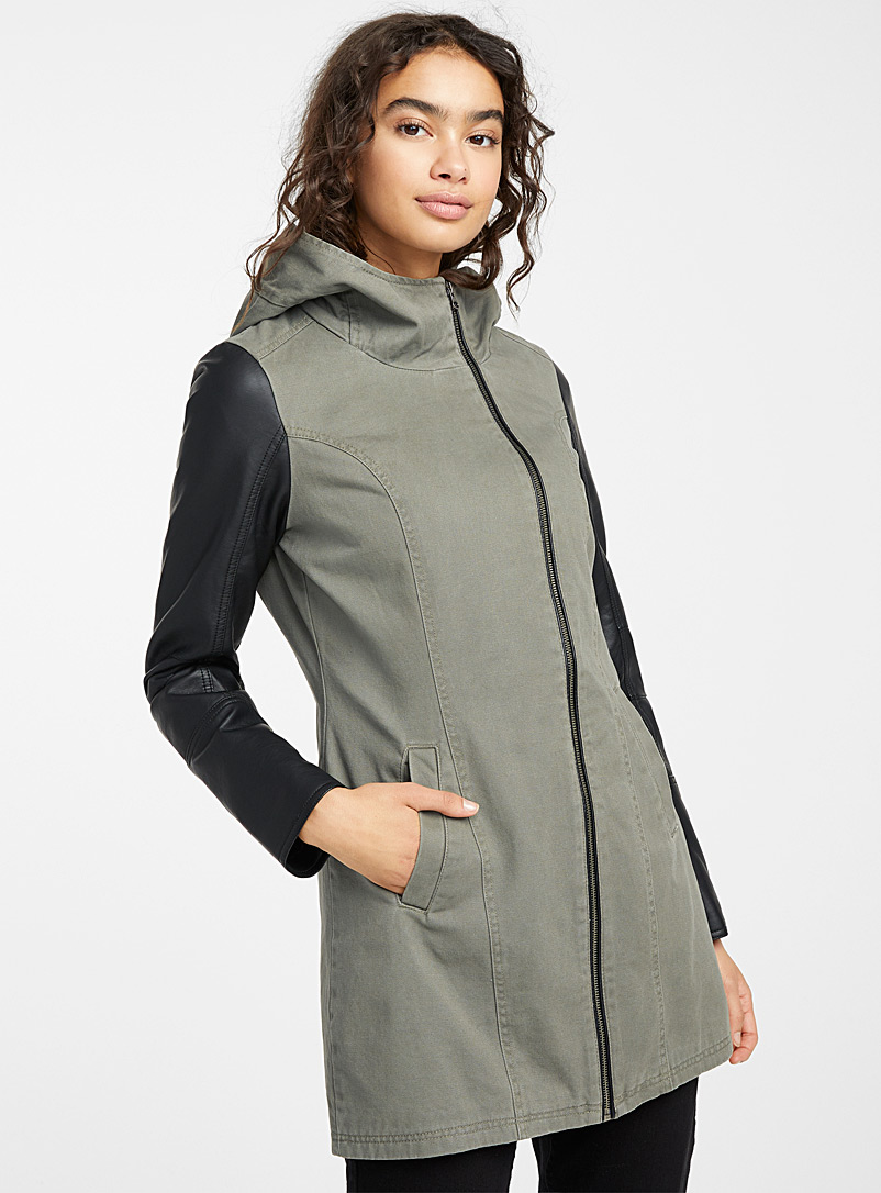 Twik Khaki Faux-leather sleeves hooded coat for women