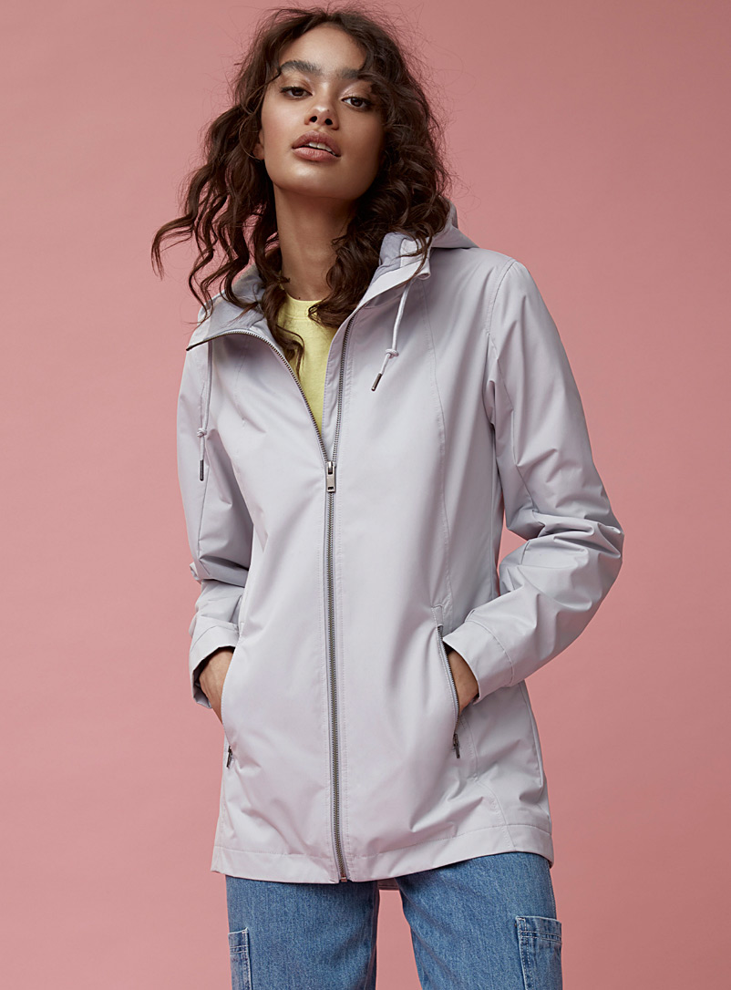 Twik Light blue Hooded recycled polyester parka for women