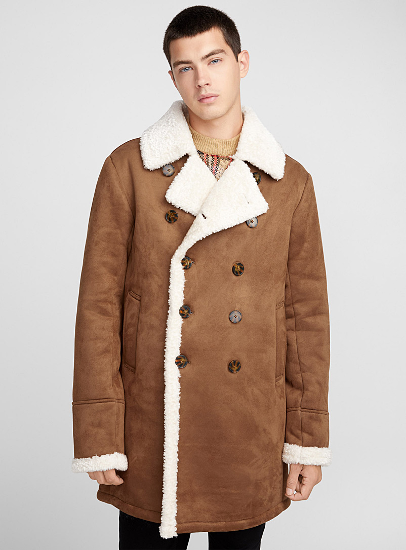 Le 31 Fawn Faux-shearling coat for men