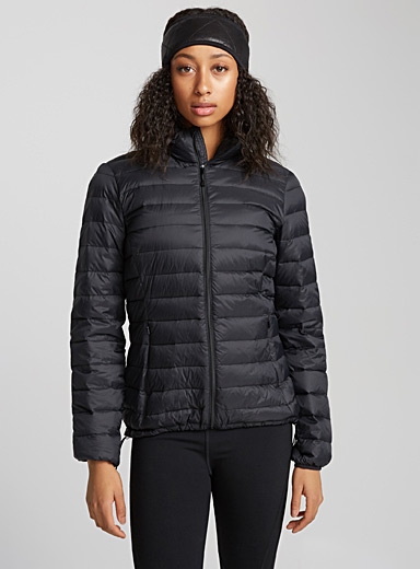 High neck packable down jacket