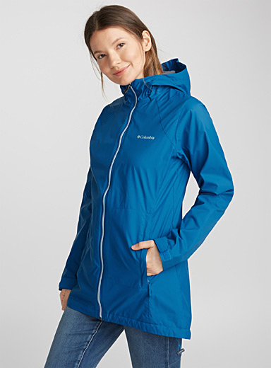 Switchback lined long raincoat