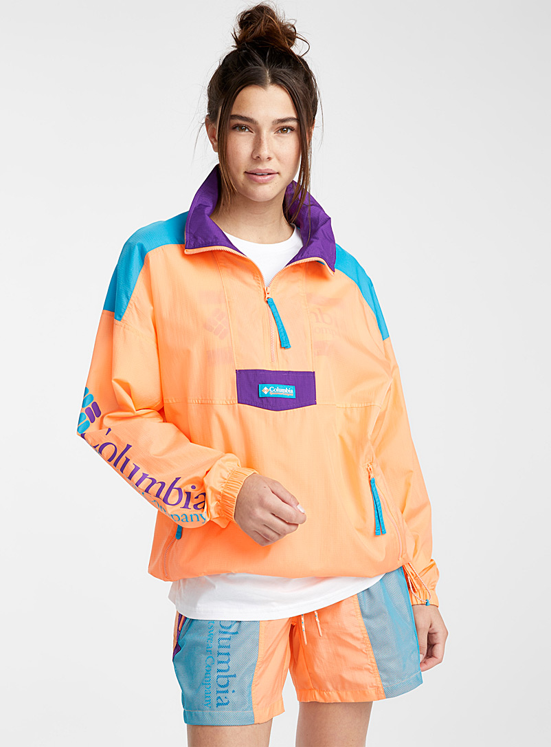 Columbia Peach Santa Ana anorak  Turquoise, purple and peach for women