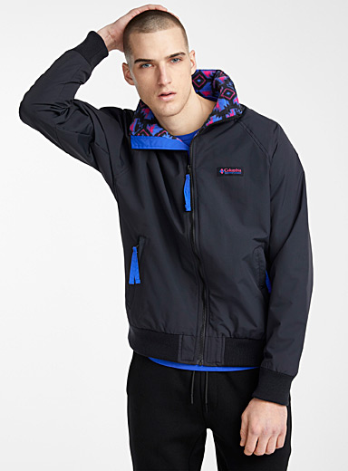 Falmouth jacket <br>Black, blue and fuchsia