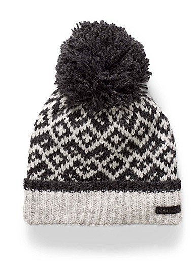 Columbia Patterned Grey Pompom and diamond tuque for women