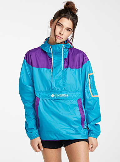 Challenger anorak  Turquoise, purple and peach