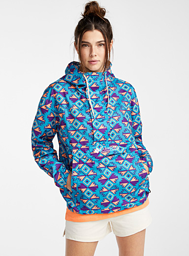 Columbia Patterned Blue Challenger anorak  Turquoise, purple and peach for women