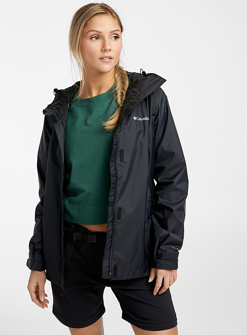 Columbia Black Arcadia packable rain jacket for women