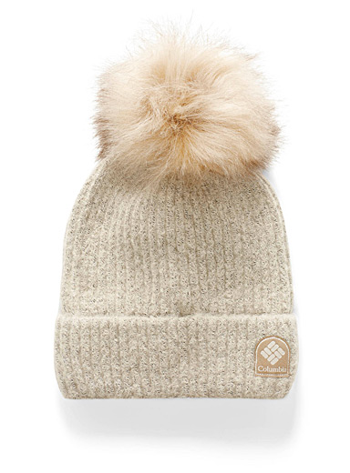Columbia Ivory White Velvety knit pompom tuque for women