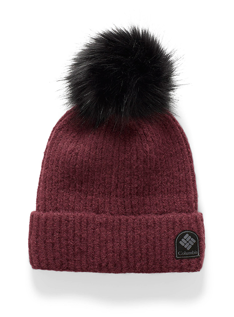Columbia Ruby Red Velvety knit pompom tuque for women
