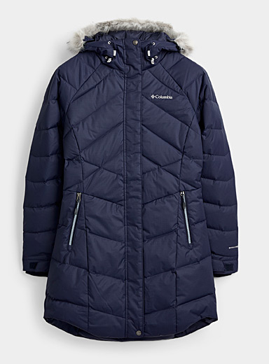 Columbia Marine Blue Lay D Down quilted parka  Long fit for women