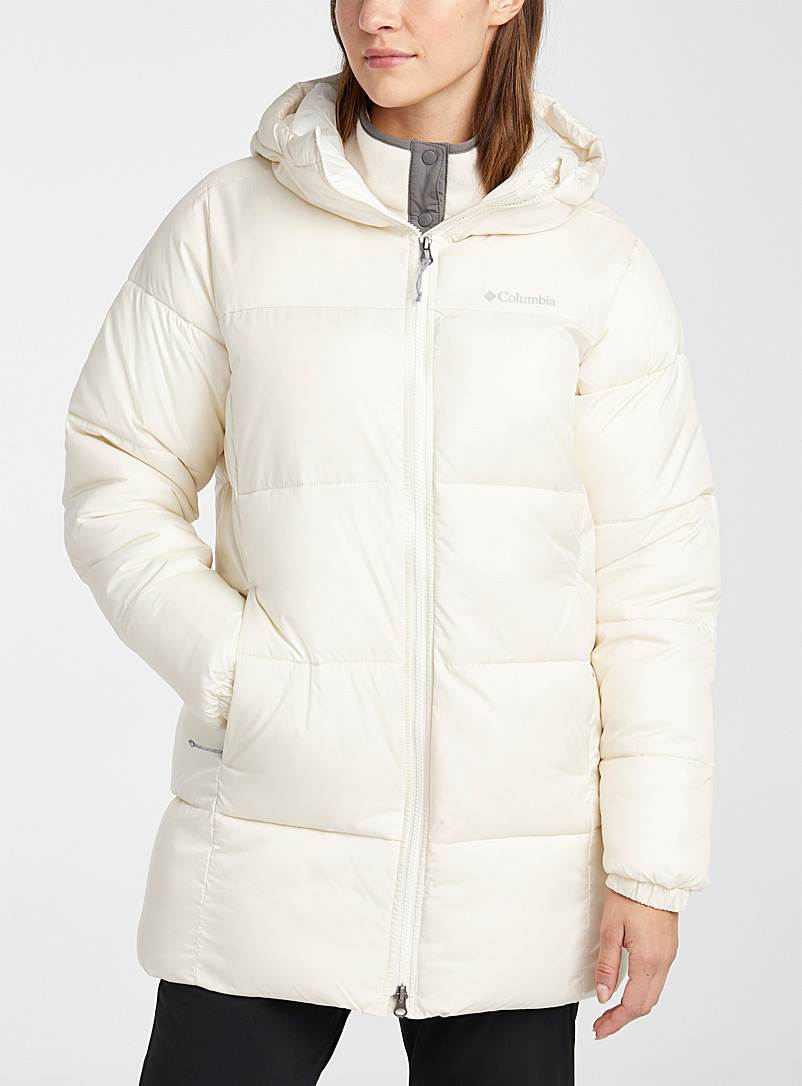 Columbia Ivory White Puffect cocoon hood puffer coat for women