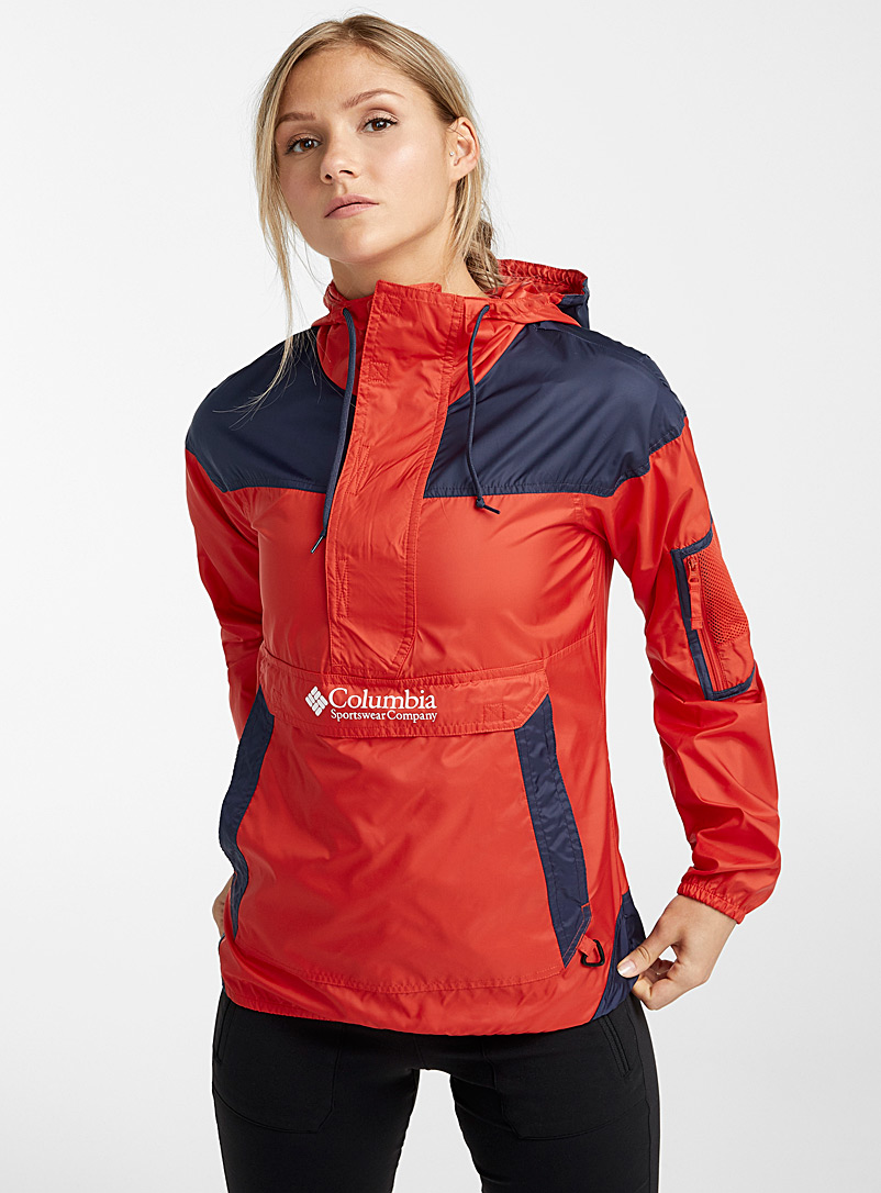 Columbia Red Challenger colourblock windbreaker anorak for women