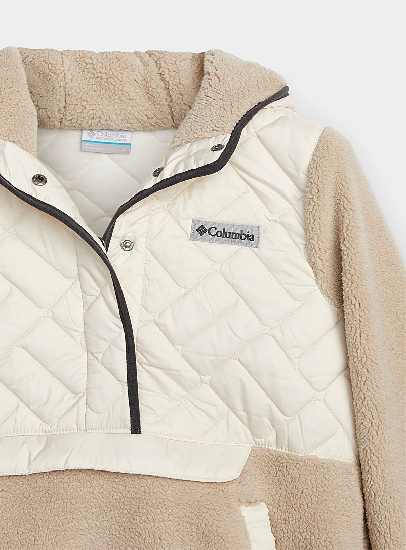 Columbia Pink Quilted plush hooded sweatshirt for women