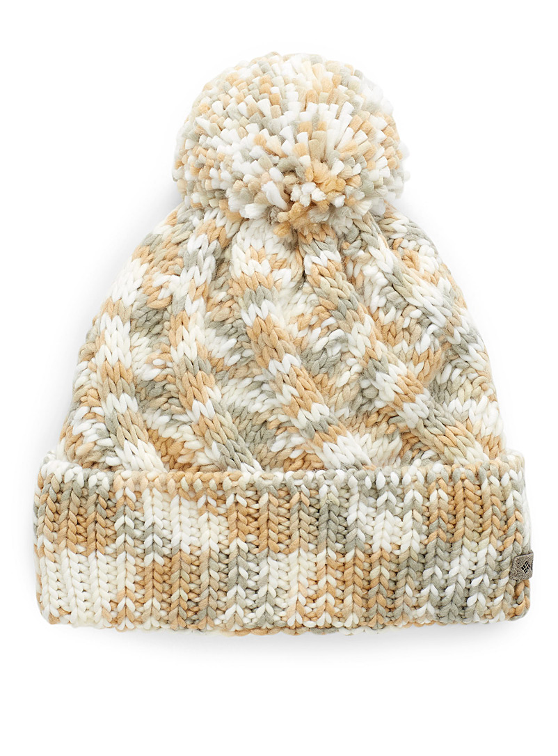 Columbia Ivory White Tricolour knit tuque for women