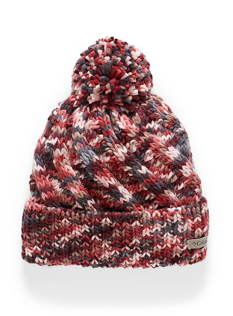 Columbia Ruby Red Tricolour knit tuque for women
