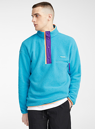 Columbia Teal Helvetia fleece sweatshirt  Turquoise, purple and peach for men
