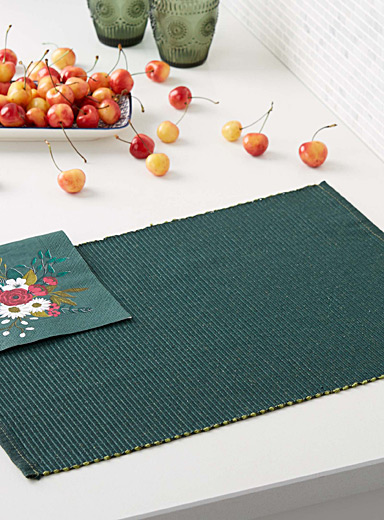 Jewel-coloured woven place mat