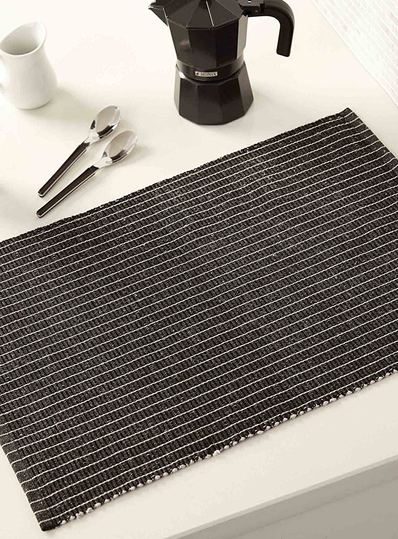 Slate grey stripe woven place mat - Woven - Charcoal
