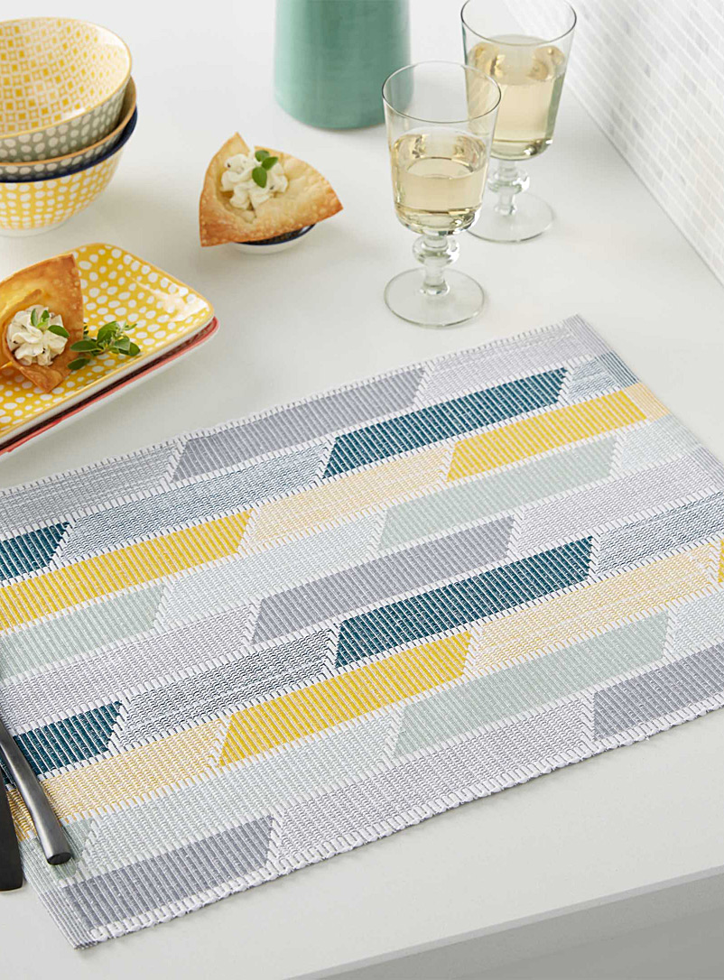 Pastel geometric woven place mat - Fabric - Assorted