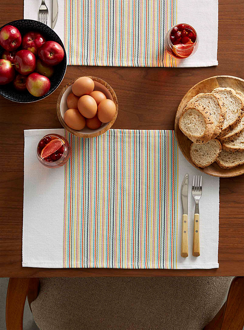 Simons Maison Assorted Zesty stripe woven placemat