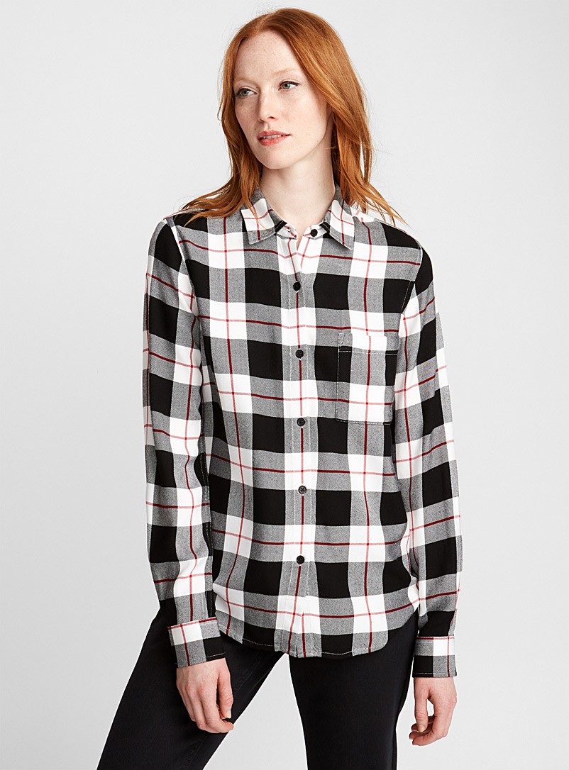 Plaid flannel shirt - Shirts - Black and White