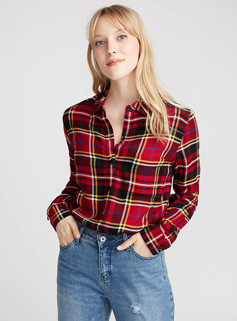 Plaid flannel shirt - Casual - Light Red